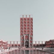 Retro futurism Iranian High rise Architecture Landmarks photomontage  11