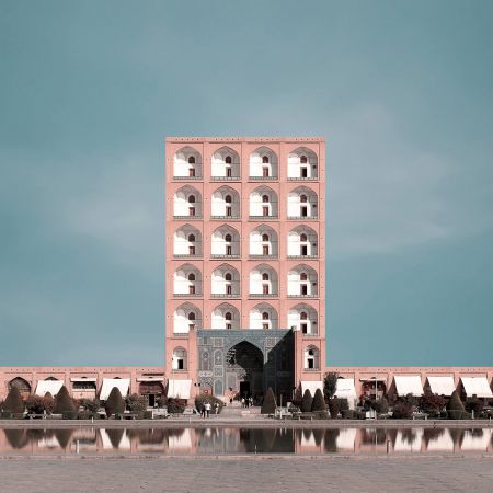 Retro futurism Iranian High rise Architecture Landmarks photomontage  1