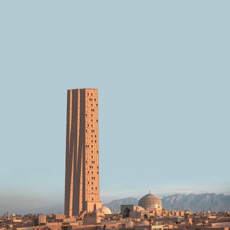 Retro futurism photomontage about Iranian architectural skyscrapers in villages  1