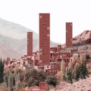 Retro futurism photomontage about Iranian architectural skyscrapers in villages  5