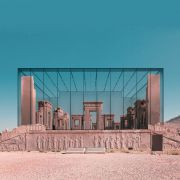Retro futurism photomontage of Expanding Iranian Ancient Architecture with Western Contemporary Architecture  6